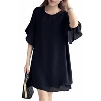 【 XL ~ 5XL 】 送料無料 大きいサイズ 夏 レディース シフォン シャツ ブラック 半袖 ドレス 結婚式 演奏会 70432