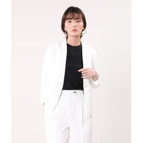 【PLST】【大きいサイズ】リネンブレンドカラーレスジャケット(オフホワイト)