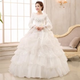 ea0a3c75ede2f ウェディングドレス二次会ウエディングドレスファスナー編み上げレース刺繍二次会ドレスロングドレス花嫁ドレスチュール