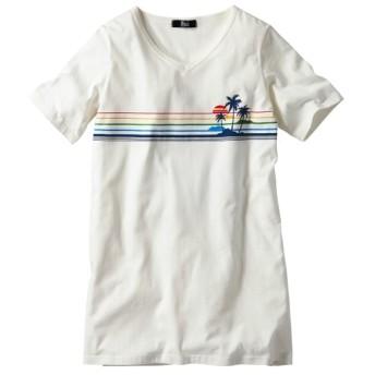 綿100%プリントチュニック Tシャツ・カットソー