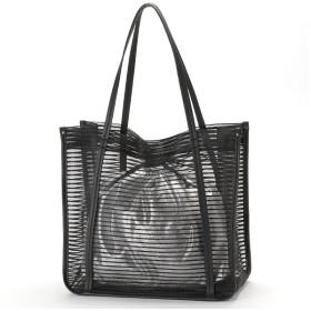 [マルイ]【セール】フェイクレザー 巾着付 ボーダー柄 メッシュ トート バッグ A4/クーコ(cooco)
