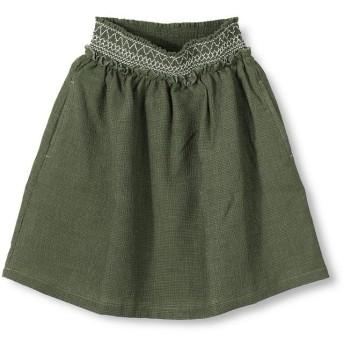 【40%OFF】 ブランシェス スモッキング刺繍スカート(90~140cm) レディース カーキグリーン 90cm 【branshes】 【セール開催中】