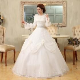 ウェディングドレス二次会ウエディングドレスファスナー編み上げレース刺繍二次会ドレスロングドレス花嫁ドレスチュールスカート結婚式秋