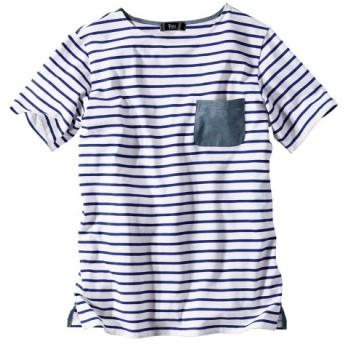 綿100%半袖ダンガリー使いボーダーTシャツ (大きいサイズレディース)Tシャツ・カットソー