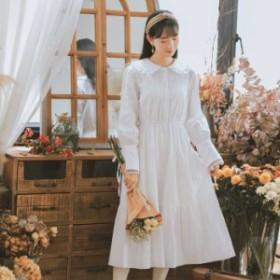 ワンピース ドレス コットン 無地 折り襟 長袖 ロング丈 ハイウエスト ウエストゴム S M L 着痩せ 可愛い ホワイト 白いlonguette