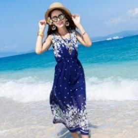 【0541】ワンピース リゾート シンプル 花柄 レディースファッション ブルー カジュアル 袖無し プリント