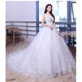 豪華な花嫁ドレスウエディングドレスオフショルダーロングバックレス花付く刺繍トレーンプリンセスライン編み上げタイプ