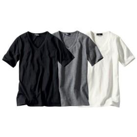 綿100%半袖VネックTシャツ3枚組 (大きいサイズレディース)Tシャツ・カットソー