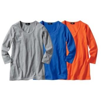 綿100%7分袖クルーネックTシャツ3枚組 レディース