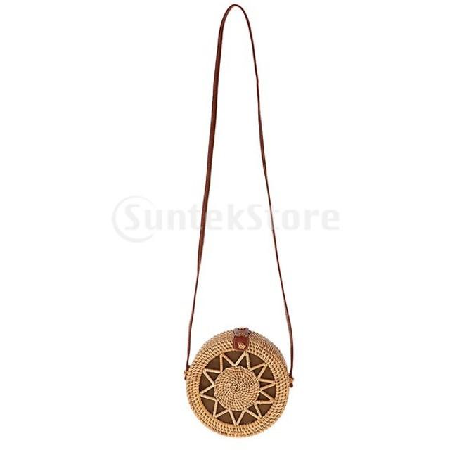PUレザーストラップブラウンと手作りの手織りの籐ラウンドバッグ