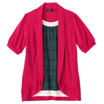 衿ぐり調整できる5分袖重ね着風チュニック