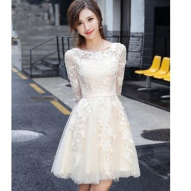 結婚式お呼ばれドレス☆フェミニンなレースとチュールの5分袖フレアワンピースドレス