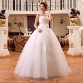 特価激安安い花嫁ドレスウェディングドレスウエディングドレス編み上げレース刺繍ドレスロングドレス花嫁ドレスベアトップビ二次会