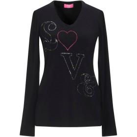 《セール開催中》VDP COLLECTION レディース T シャツ ブラック 40 レーヨン 94% / ポリウレタン 6%