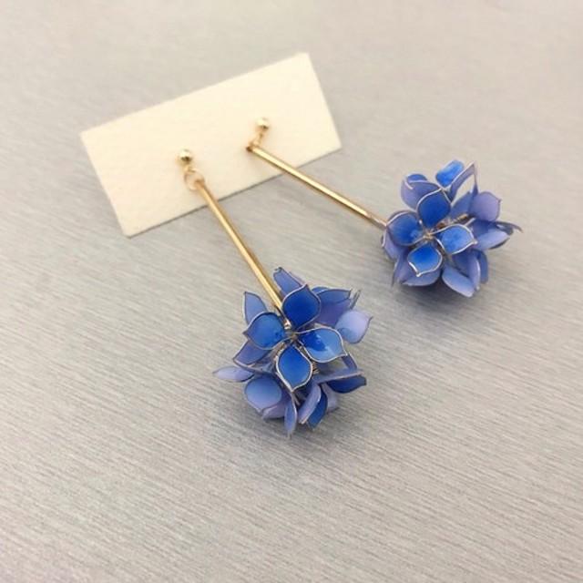 紫陽花球 樹脂のイヤリング绣アジサイ水晶クリスタルの花