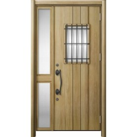 玄関ドア リシェント3 断熱 K4 D44型 片袖中桟付ポスト無ドア W:1,176~1,336mm × H:1,739~2,039mm  リクシル