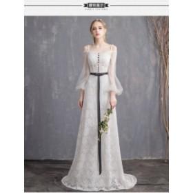 高級ウェディングドレス結婚式ドレス花嫁ドレススレンダーラインオフショルダートレーン超豪華なトレーンドレスマーメイドライン二二次会