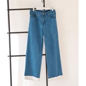 9分丈裾レースゆったりシルエットデニムパンツ(ゆったりヒップ) (大きいサイズレディース)パンツ,plus size