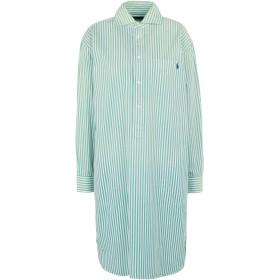 《セール開催中》POLO RALPH LAUREN レディース ひざ丈ワンピース グリーン 2 コットン 100% Striped Poplin Shirtdress