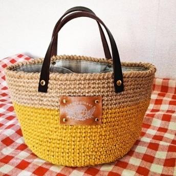 麻ひもバッグ 春色新作☆ミモザカラーのツートンバッグ