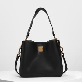 バックルクラシック ショルダーバック / Buckle Classic Shoulder Bag (Black)