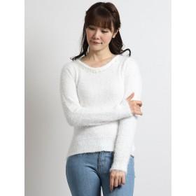 ニット・セーター - TAKA-Q フェザー衿ビジュークルーネック長袖プルオーバーニット