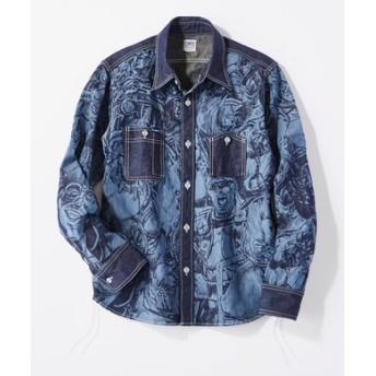 TENRYO DENIM 「倉敷天領デニム×北斗の拳」ザコ柄ワークシャツ メンズ ネイビー