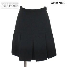 シャネル CHANEL スカート パイル地 ボックスプリーツ ブラック サイズ 36 07A レディース