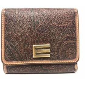 エトロ ETRO 3つ折り財布 レディース ボルドー×ライトブラウン×マルチ ペイズリー柄 PVC(塩化ビニール)×レザー【中古】