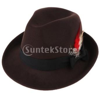 男性のソフト帽の帽子のウールは粉砕可能な手作りのちょう結びの羽の帽子を感じました