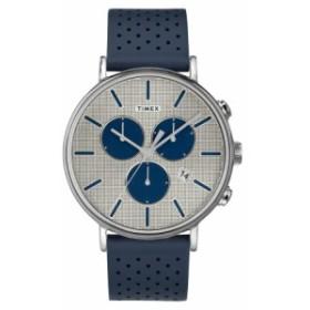 タイメックス メンズ 腕時計 アクセサリー Timex Fairfield Chronograph Perforated Leather Strap Watch, 41mm Navy/ Silver