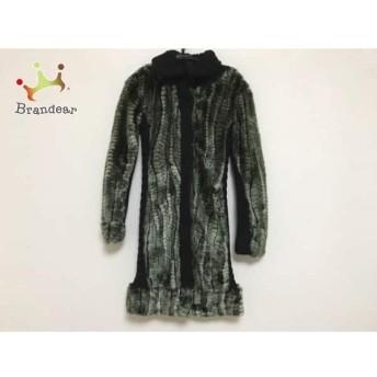 デシグアル コート サイズ38 L レディース 黒×グリーン×マルチ ニット/フェイクファー/冬物 スペシャル特価 20190909