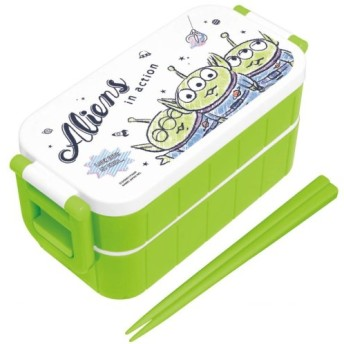 お弁当箱 お弁当用袋 ディズニー 手書き風デザインのロック式2段ランチボックス カラー 「エイリアン」