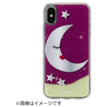 iPhone X/XS TPUケース Moon With Stars Purple
