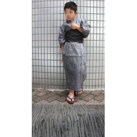 浴衣(男の子用) - BiSOU 浴衣 子供浴衣 男の子 グレー系変わり織り 変わり縞 ゆかた ユカタ
