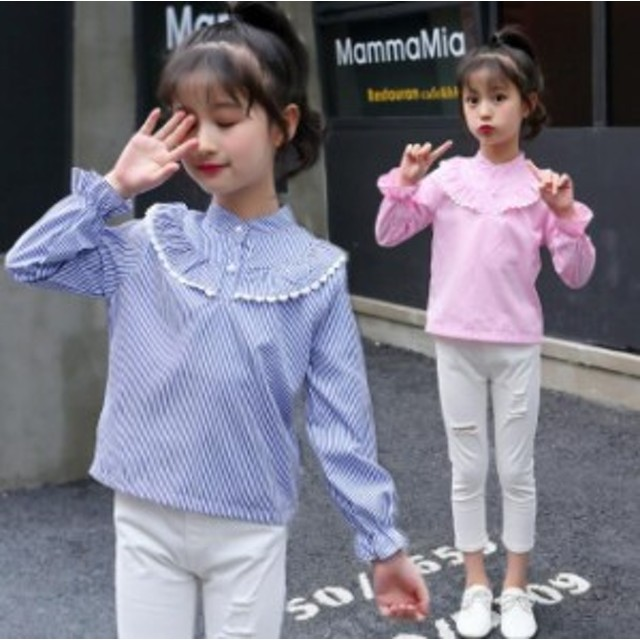 韓国子ども服2018新作着女の子長袖シャツ長袖ストライプ柄ブラウスストライプシャツキッズトップスジュニア子供服MS秋