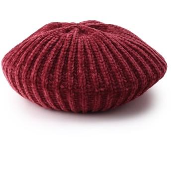 ベレー帽 - Dessin モール糸リブニットベレー帽