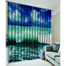 海の波のデジタル印刷の熱絶縁された3Dカーテンつる