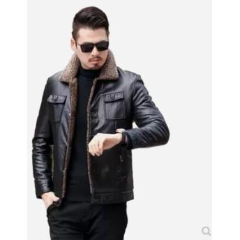 [55555SHOP] 高品質 韓国ファッション スリム ハンサム 子羊の毛の襟 レザージャケット ジャケット コットンコート メンズ ファッション