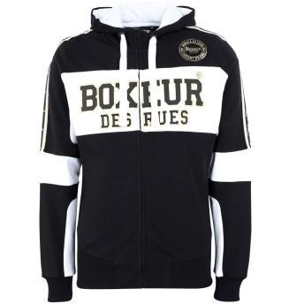 《期間限定セール開催中!》BOXEUR DES RUES メンズ スウェットシャツ ブラック XL コットン 90% / ポリウレタン 10% FZIP HOODIE WITH JACQUARD STRIPES ON SLEEVES