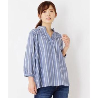 3can4on / サンカンシオン 防シワストライプシャーリングシャツ