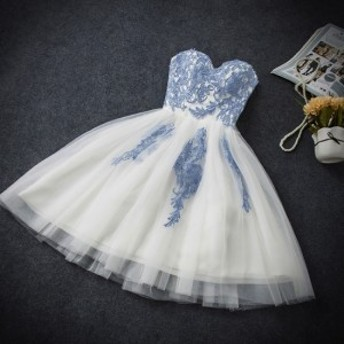 バレリーナみたいなハートネックビスチェフレアレースドレス