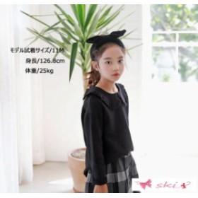 7be3370eaef1d 秋著 キッズ 新作 お嬢様風 子供服 ブラウス ファッション感 シャツ トップス 2018 ブラック 女の子