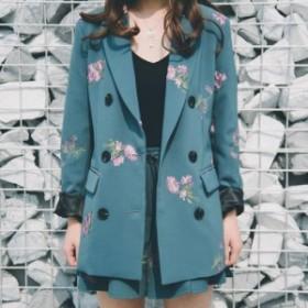 大人なスーツstyle♪ 花柄刺繍 ジャケット&フリルパンツ セット