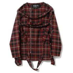International Gallery BEAMS TA CA Si / タータンチェック ボンテージシャツ◎ メンズ ブルゾン RED TARTAN 46/M
