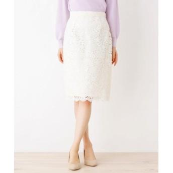 index(インデックス) 【洗濯機洗いOK】レースミモレタイトスカート