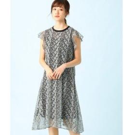 LUMINOSO COMMECA / ルミノーゾ・コムサ フラワー刺繍Aラインドレス