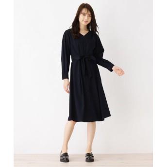 index(インデックス) 【洗濯機洗いOK】サッシュベルト付シャツワンピース
