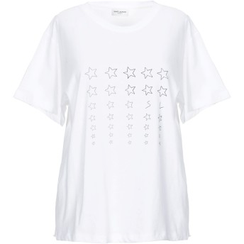 《期間限定セール開催中!》SAINT LAURENT レディース T シャツ ホワイト M コットン 100%