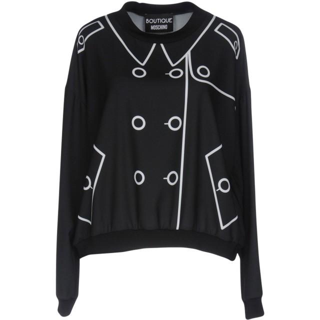 《セール開催中》BOUTIQUE MOSCHINO レディース スウェットシャツ ブラック 38 95% ポリエステル 5% 指定外繊維